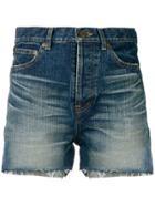 Saint Laurent Slim Denim Shorts - Blue