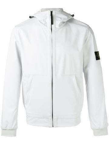 Stone Island Zipped Hooded Jacket, Men's, Size: Small, White, Polyester/spandex/elastane