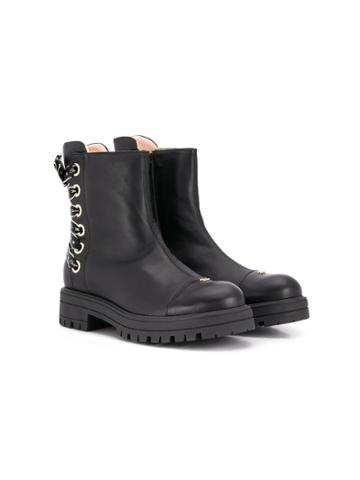 Elisabetta Franchi La Mia Bambina Teen Leather Ankle Boots - Black