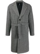 Hevo Gingham Check Coat - Black