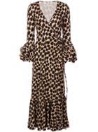 Dvf Diane Von Furstenberg Printed Wrap Dress - Brown
