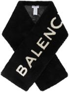 Balenciaga Shearling Logo Scarf - Black