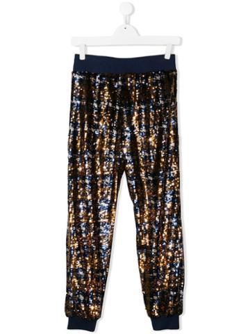 Alberta Ferretti Kids Sequin Embellished Trousers - Blue