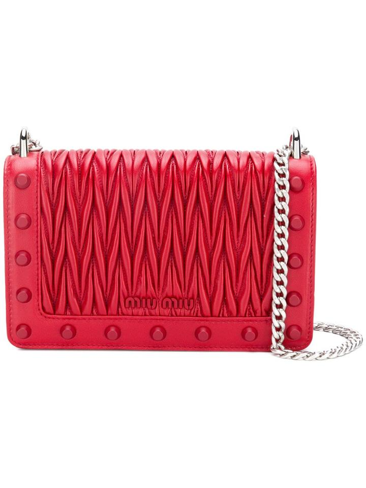 Miu Miu Studded Matelassé Shoulder Bag - Red