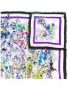 Roberto Cavalli Floral Print Scarf, Purple, Modal