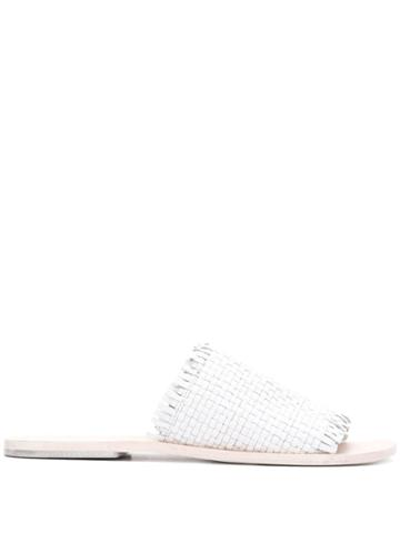 Strategia Woven Flat Mules - White