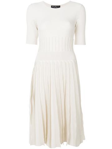 Salvatore Ferragamo - Pleated Knit Dress - Women - Viscose/wool/polyester - Xs, Nude/neutrals, Viscose/wool/polyester