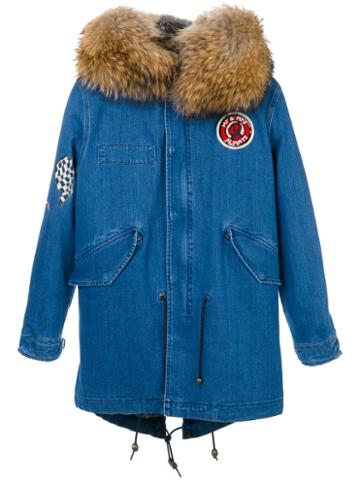 Mr & Mrs Italy - Denim Mid Parka - Women - Cotton/fox Fur/racoon Fur/glass - Xs, Blue, Cotton/fox Fur/racoon Fur/glass