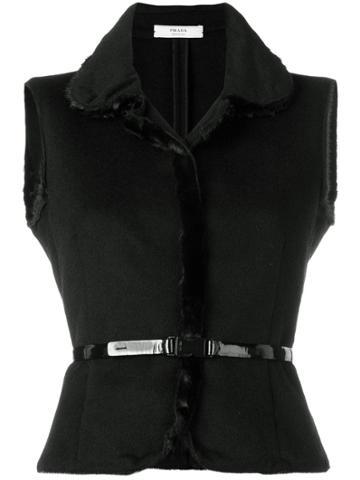 Prada Vintage 2000 Belted Gilet - Black