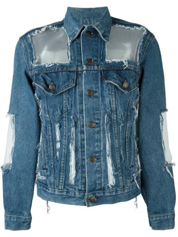 Off-white Cut-out Distressed Denim Jacket