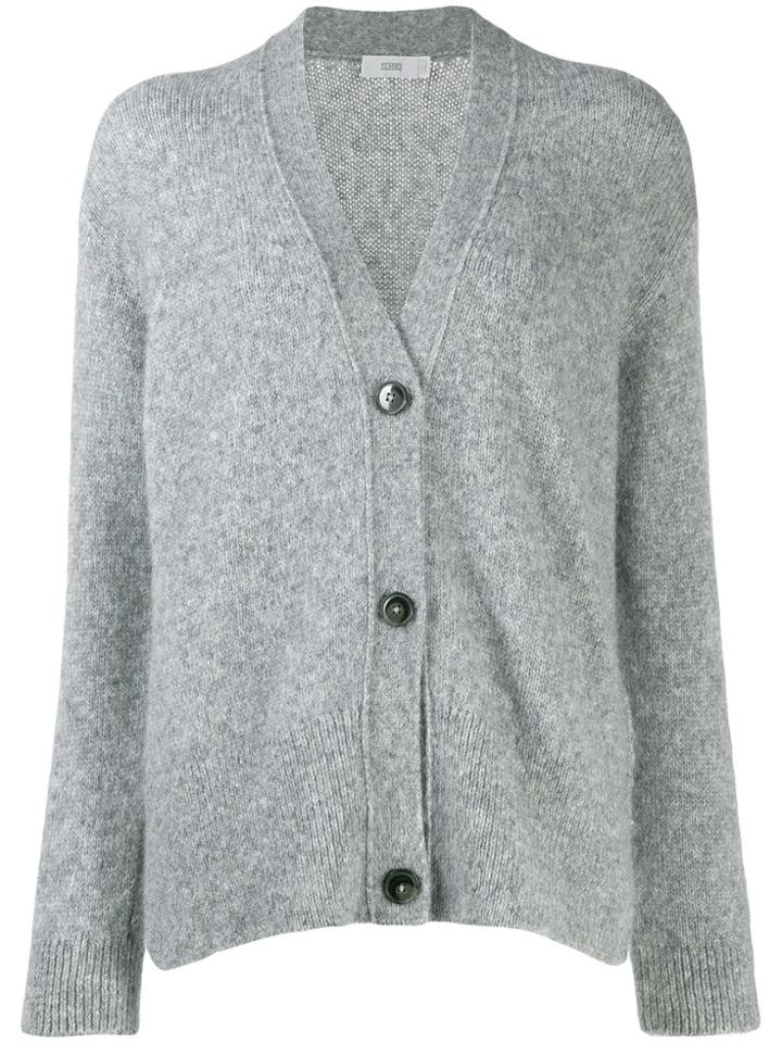 Closed V-neck Buttoned Cardigan - Grey