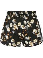 Off-white Floral Print Shorts - Black