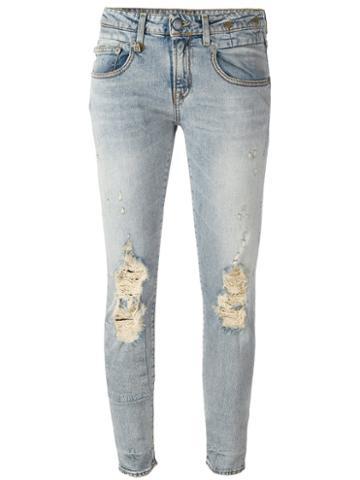 R13 - 'boy Skinny Leyton' Jeans - Women - Cotton - 29, Blue, Cotton