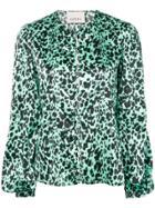 Laneus Leopard Print Blouse - Green