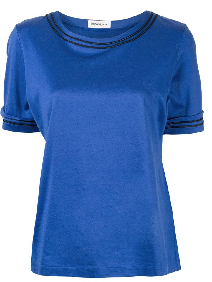 Yves Saint Laurent Pre-owned Piped Trim T-shirt - Blue