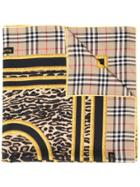 Burberry Vintage Check Animal Print Scarf - Brown