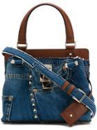 Valentino Garavani Denim Embellished Shoulder Bag - Blue