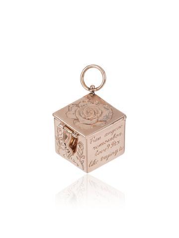 Marla Aaron Hand Engraved Vinaigrette Charmed Box - Pink & Purple