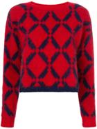 Versace Argyle Knit Jumper - Red