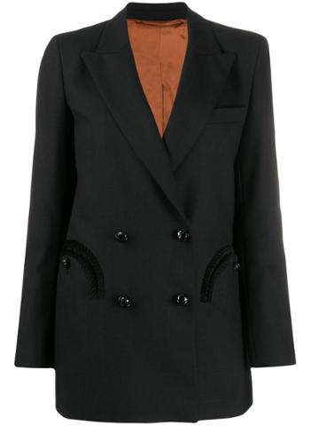 Blazé Milano Fitted Double-breasted Blazer - Black