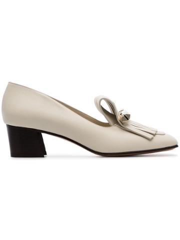 Valentino Garavani Cream Uptown 45 Fringed Leather Loafers - White