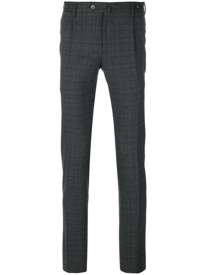 Pt01 Checked Tailored Pants - Grey