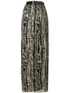 Alberta Ferretti Floral Pleated Maxi Skirt - Black