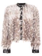 Patrizia Pepe Furry Cropped Jacket - Nude & Neutrals