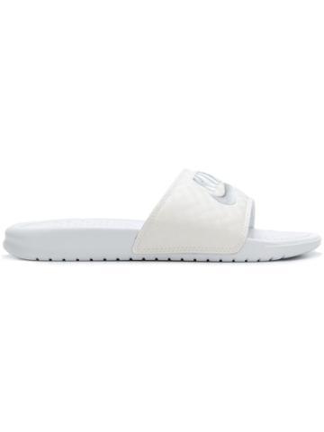 Nike Metallic Logo Pool Slides - White