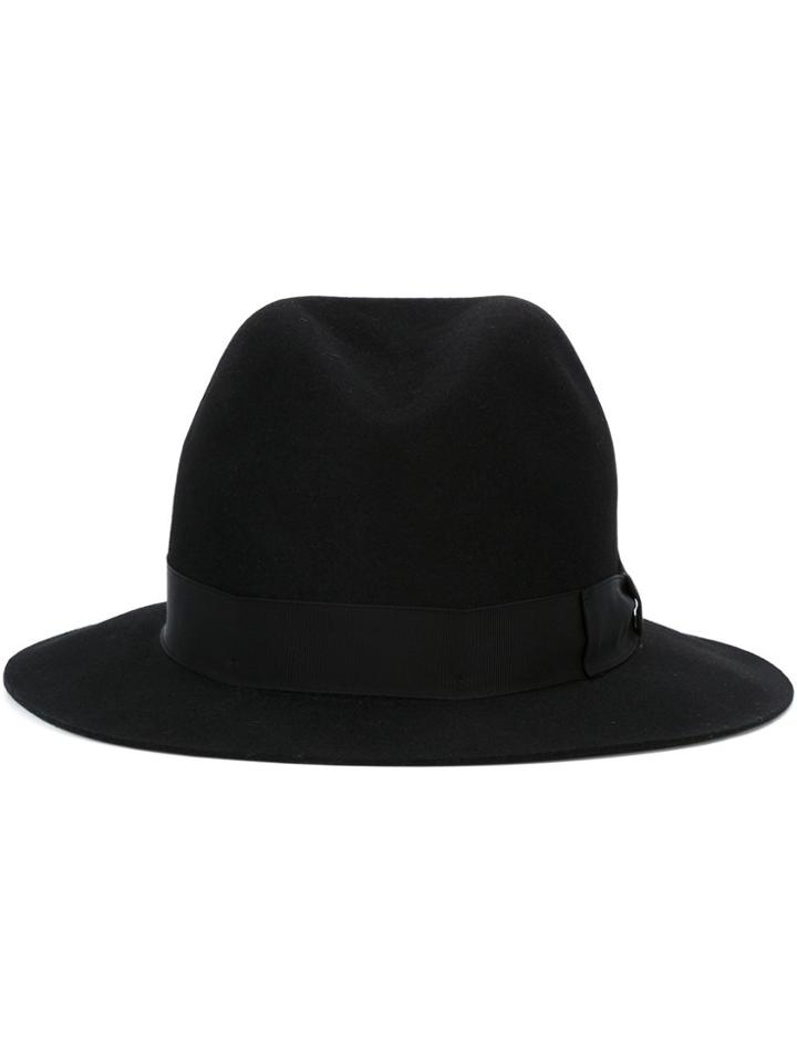 Borsalino Felt Fedora Hat - Black