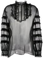 Valentino Sheer Organza Blouse - Black