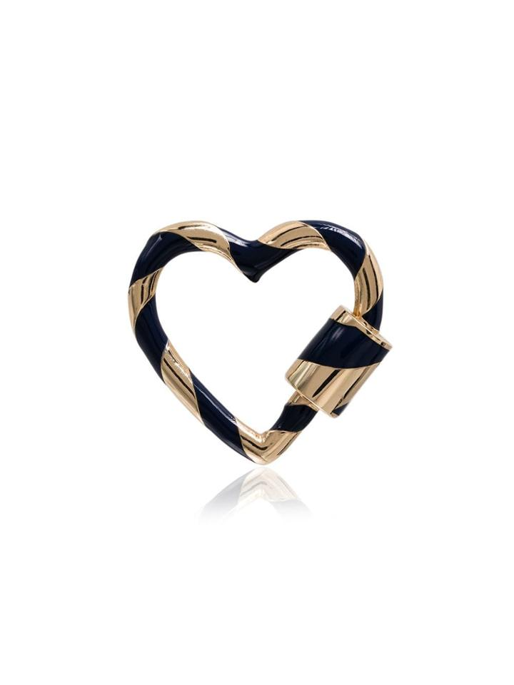 Marla Aaron Blue Enamel 14k Gold Lock Heart Charm