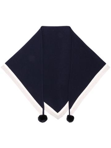 N.peal Pom-pom Contrast Scarf - Blue