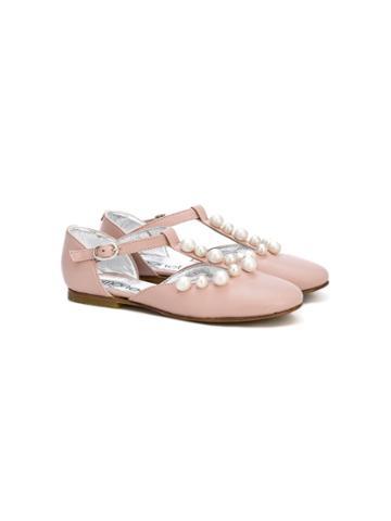Simonetta Pearl Detail Ballerinas - Pink & Purple