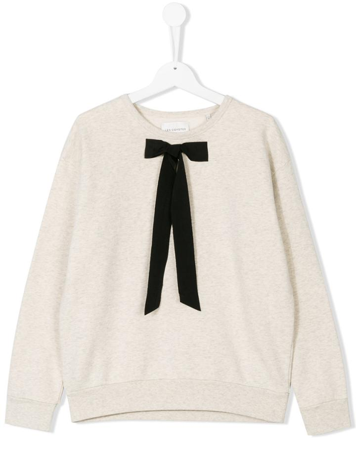 Les Coyotes De Paris Teen Bow Detail Sweatshirt - Nude & Neutrals