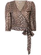 Ganni Leopard Print Blouse - Brown