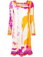 Emilio Pucci Lace Appliqués Longsleeved Dress - Pink & Purple