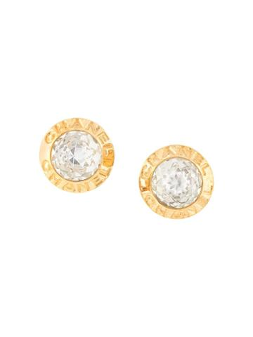 Chanel Pre-owned 1997 Aw Logo Round Earrings - Gold