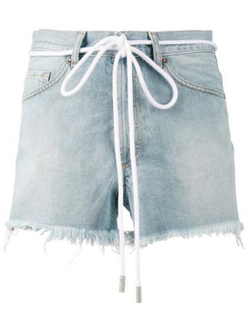 Off-white Drawstring Cut-off Denim Shorts - Blue