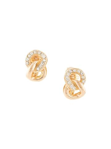 Christian Dior Pre-owned Chain Rhinestone Embellished Earrings - Gold