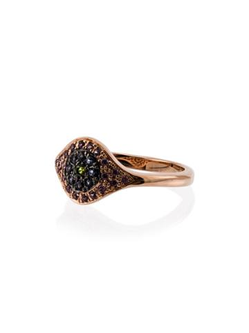 Ileana Makri 18k Rose Gold Cats Eye Sapphire Tsavorite Ring - Blue