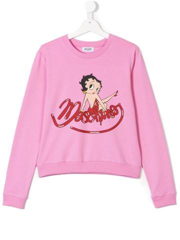 Moschino Kids Logo Patch Sweatshirt - Pink & Purple