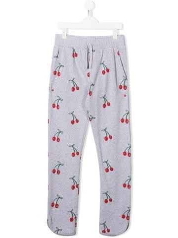 Stella Mccartney Kids Cherry Print Drawstring Trousers - Grey