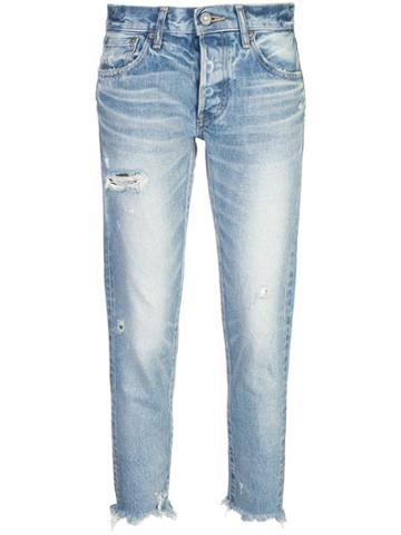 Moussy Vintage Cropped Ripped Jeans - Blue