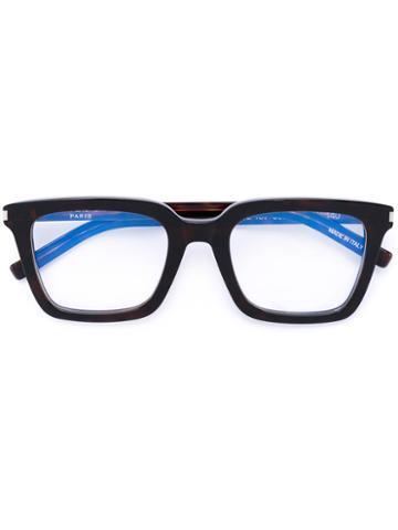 Saint Laurent - Thick Square Frame Glasses - Unisex - Acetate - One Size, Black, Acetate