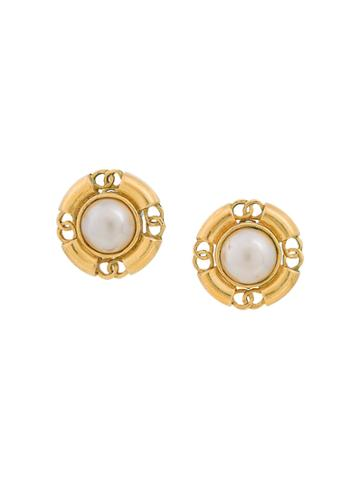 Chanel Vintage Faux Pearl Round Earrings - White