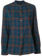 Aspesi Plaid Mandarin Collar Shirt - Blue