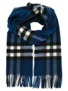 Burberry Checked Scarf, Women's, Blue, Cashmere