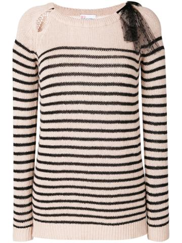 Red Valentino - Striped Jumper - Women - Wool/viscose/angora/cashmere - S, Black, Wool/viscose/angora/cashmere