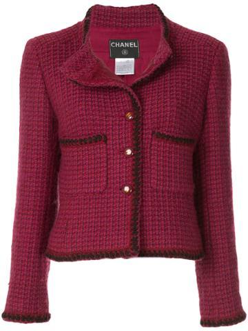 Chanel Vintage Collarless Tweed Jacket - Pink & Purple